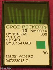 GROZ BECKERT UY 154 GAS SY 1431 courbé surjeteuse MACHINE AIGUILLES