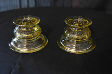 "Light Amber yellow Pressed Glass Small Candle Holder Set  3"" Tall 2- Piece"