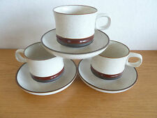 Denby Pottery Wheel Rust  3 Cup & Saucer Sets