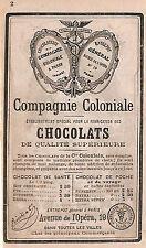 PARIS CHOCOLATS COMPAGNIE COLONIALE ANNONCES GUIDES CONTY PETITE PUBLICITE 1886