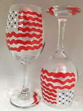 2 Hand-Painted American Flag Wine Glasses