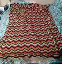 Vtg Granny Crochet Afghan Throw Blanket Chevron Orange Brown Green 70s 60x48in