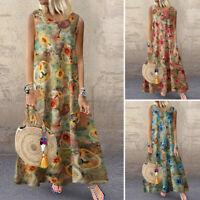 ZANZEA Women Vintage Sleeveless Casual Loose Floral Print Kaftan Long Maxi Dress