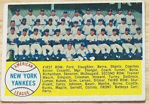 1958 TOPPS BASEBALL SET, #246 New York Yankees Team Picture