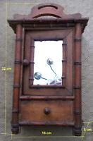 Ancienne Armoire de poupee  en bois facon bambou miroir tiroir