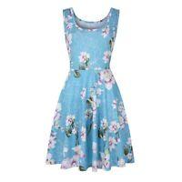 Women Loose Floral Shirt Dress Boho Beach Summer Printed Sleeveless Casual Beach