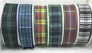 Tartan Ribbon 25mm in 2m or 5m cut lengths, choice of colours - free postage