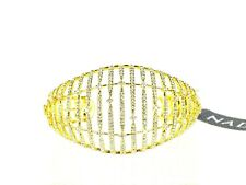 NADRI $185 Amazing Gold Plated Clear Cubic Zirconia Hinged Tapered Cuff Bracelet
