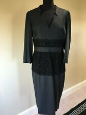 Jaeger Charcoal/Black 3/4 Sleeve Pencil Dress with Lace detailing size 16