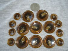 Shiny Horn Coat Button Set 30L 50L 4-Hole rim toffee silver metal edge 19mm 32MM