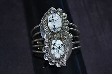 Handmade 5 Band Sterling Silver 2 Stone Bracelet