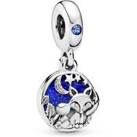 Genuine Pandora Silver Fox & Rabbit Dangle Charm Blue Sky 798239NMB NEW!