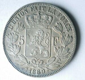 1869 BELGIUM 5 FRANCS - AU - High Grade Silver Coin - +Value - Lot #L24