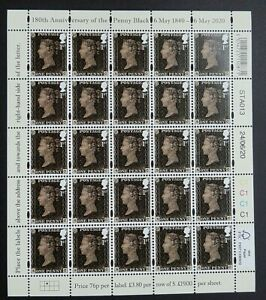 GB 2020 180TH ANNIVERSARY OF THE PENNY BLACK - COMPLETE SHEET - MNH