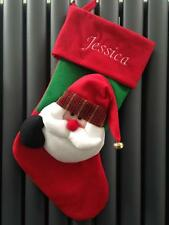 Luxury 3D Father Christmas Stocking Santa Personalised Embroidered with any name