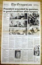 1981 newspaper Attempted ASSASSINATION  President RONALD REAGAN by JOHN HINCKLEY