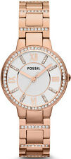 Women's Rose Gold Fossil Virginia Crystallized Watch ES3284