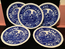 "SET OF 5 BLUE COPELAND SPODE TOWER 6.5"" PLATES BREAD & BUTTER OLD OVAL MARK"