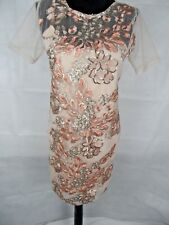 Blush/Nude Sequins Embellished Mesh Dress Size 8, Wedding Party Evening
