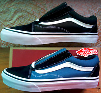 New Vans Old Skool Classic Black/Blue & White Canvas+Suede Skate Shoes/Sneakers