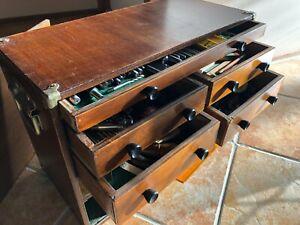 Vintage machinists tool cabinet and tools, Titan, Baty, TEC, Sutton, Starrett