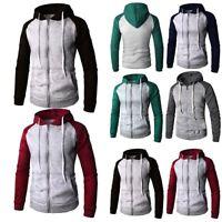 NEW Men's Zip Up Hoodie Hooded Sweatshirt Coat Jacket Baseball Outwear Sweater