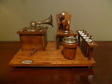 "Antique French Carved NIPPER ""His Master's Voice"" Smoking Pipe Stand Music Box"