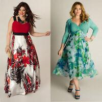 Women Summer Boho Floral Long Maxi Dress Evening Party Beach Sundress Plus Size