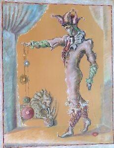 MANDY SAND ( 1932-2004), Oil Pastels on Paper, Surreal Fantastic Clown, Signed