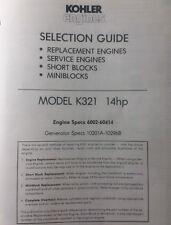 Kohler K321 Engine 14 hp Specifications Manual Lawn Garden Tractor Generator