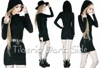 RESTYLE Ripped Fabric Hooded Black Long Sleeve Cyber Punk Nu Goth Bodycon Dress