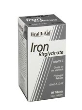 Health Aid Iron Bisglycinate (Iron with Vitamin C) <br> 90 Tablets