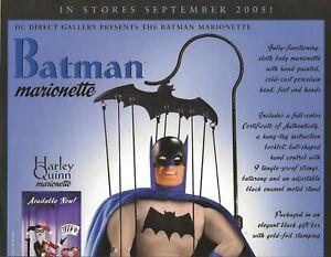 DC BATMAN MARIONETTE 2005 RETAILER PROMO POSTER BATMAN JOKER HARLEY QUINN