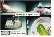 """Publicité Advertising 1984 (2 pages) Vaisselle Assiette """"Florentine"""" Arcopal"""