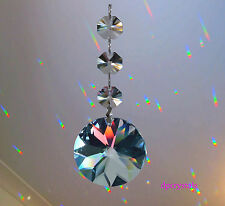 Sun Catcher Hanging Sun Crystal Feng Shui Rainbow Prism using Swarovski Octagons