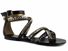 Report Women's Vyper Ankle Strap Sandals Black Leather & Hardware Size 7.5 M