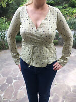 BNWT FAT FACE Ladies Fashion Cotton Wrap Top Size 10 WILLOW Shirt Yellow-Linseed