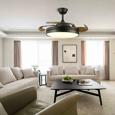 New Listing36' Ceiling Fan Light 4 Retractable Blades Led Chandelier Lamp + Remote Control