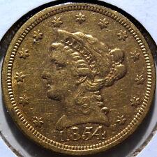 1854 $2.5 Coronet Quarter Eagle Gold Coin EF+