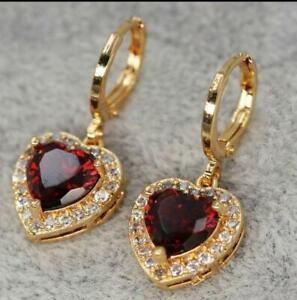 2.20Ct Heart Cut Red Garnet Halo Drop & Dangle Earrings 14K Yellow Gold Finish