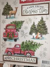 Red Truck Christmas Window Clings Christmas Trees Deer Fox