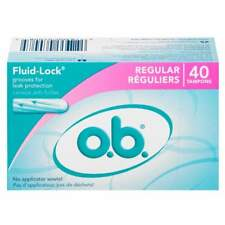 3 Boxes O.b. OB Tampons 40 Each 120 Total Regular No Applicator Fluid Lock