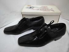 Nos roland schnürschuh negro de cuero semi zapato True vintage talla 9,5 Shoe Vintage