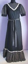 Vintage Femmes Weise festmorden Noir/Blanc Prairie Style Robe Longue Taille 12-14