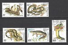 Animaux Reptiles Laos (124) série complète 5 timbres oblitérés