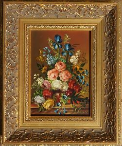 Josef Kamenitzky Steiner, Blumenstilleben, Öl auf Holz, gerahmt 3