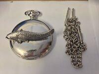 F46 Wells Catfish Emblem on a polished silver case GIFT quartz pocket watch fob