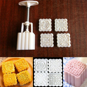 Square Baking Mooncake DIY Mold Pastry Biscuit Cake Mould Fower With 4 Stamps