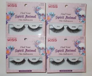 LOT 4 KISS Fake Eyelashes FELIS LIMITED EDITION Halloween BLACK
