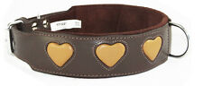 Brown Staffy staffie Dog Collar Tan Hearts To Fit 20 - 24 Inch Neck 2 Inch Wide